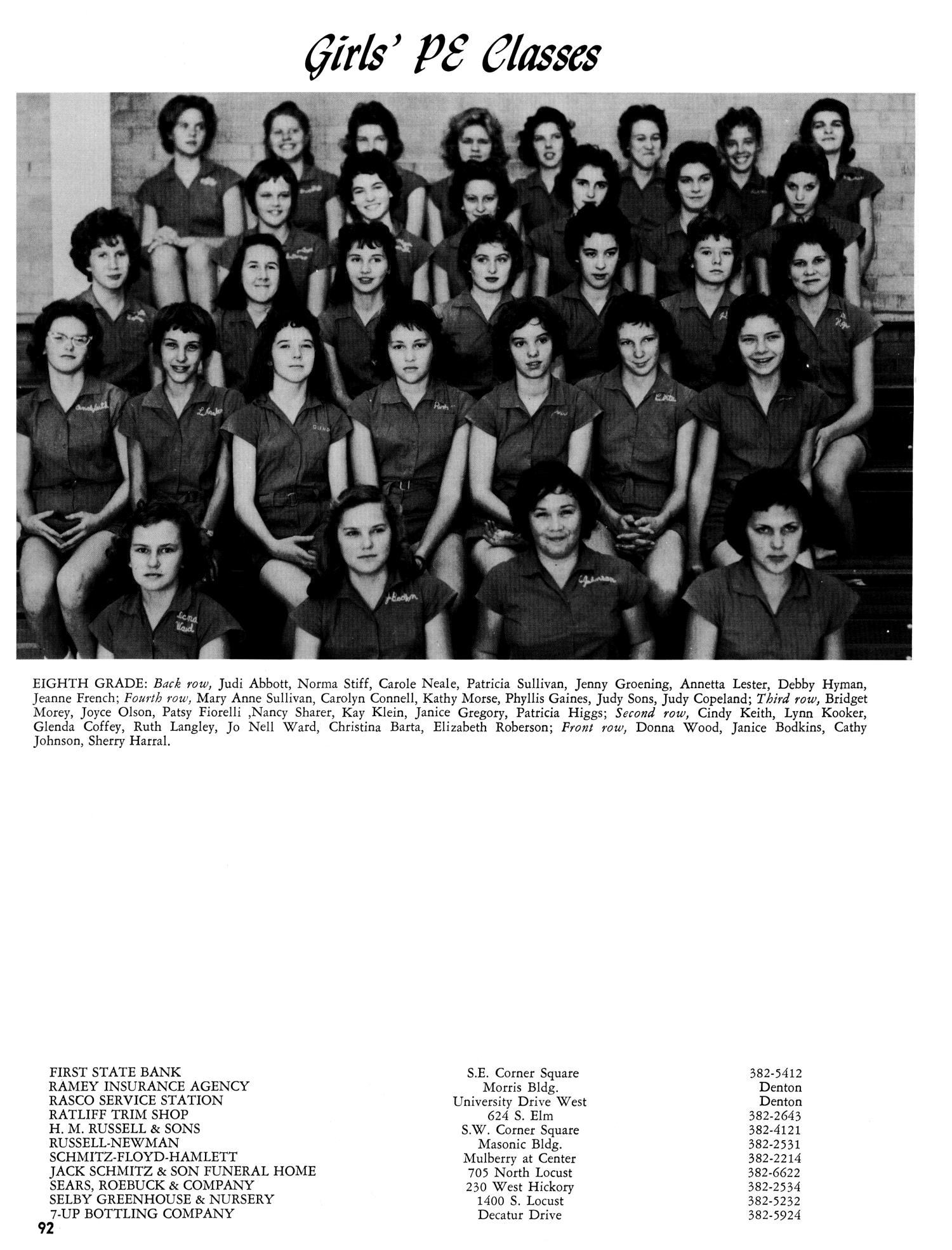 Lion\'s Roar, Yearbook of the North Texas Junior High School, 1962 ...