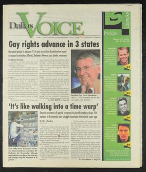Primary view of object titled 'Dallas Voice (Dallas, Tex.), Vol. 17, No. 48, Ed. 1 Friday, March 30, 2001'.