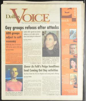 Primary view of object titled 'Dallas Voice (Dallas, Tex.), Vol. 18, No. 24, Ed. 1 Friday, October 5, 2001'.