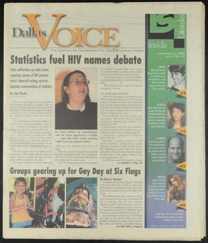 Primary view of object titled 'Dallas Voice (Dallas, Tex.), Vol. 17, No. 19, Ed. 1 Friday, September 8, 2000'.