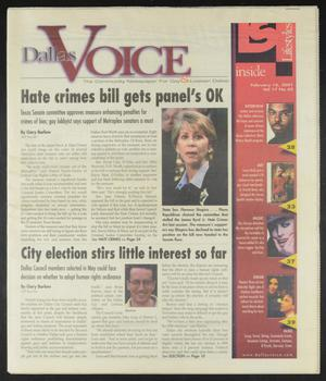 Primary view of object titled 'Dallas Voice (Dallas, Tex.), Vol. 17, No. 42, Ed. 1 Friday, February 16, 2001'.