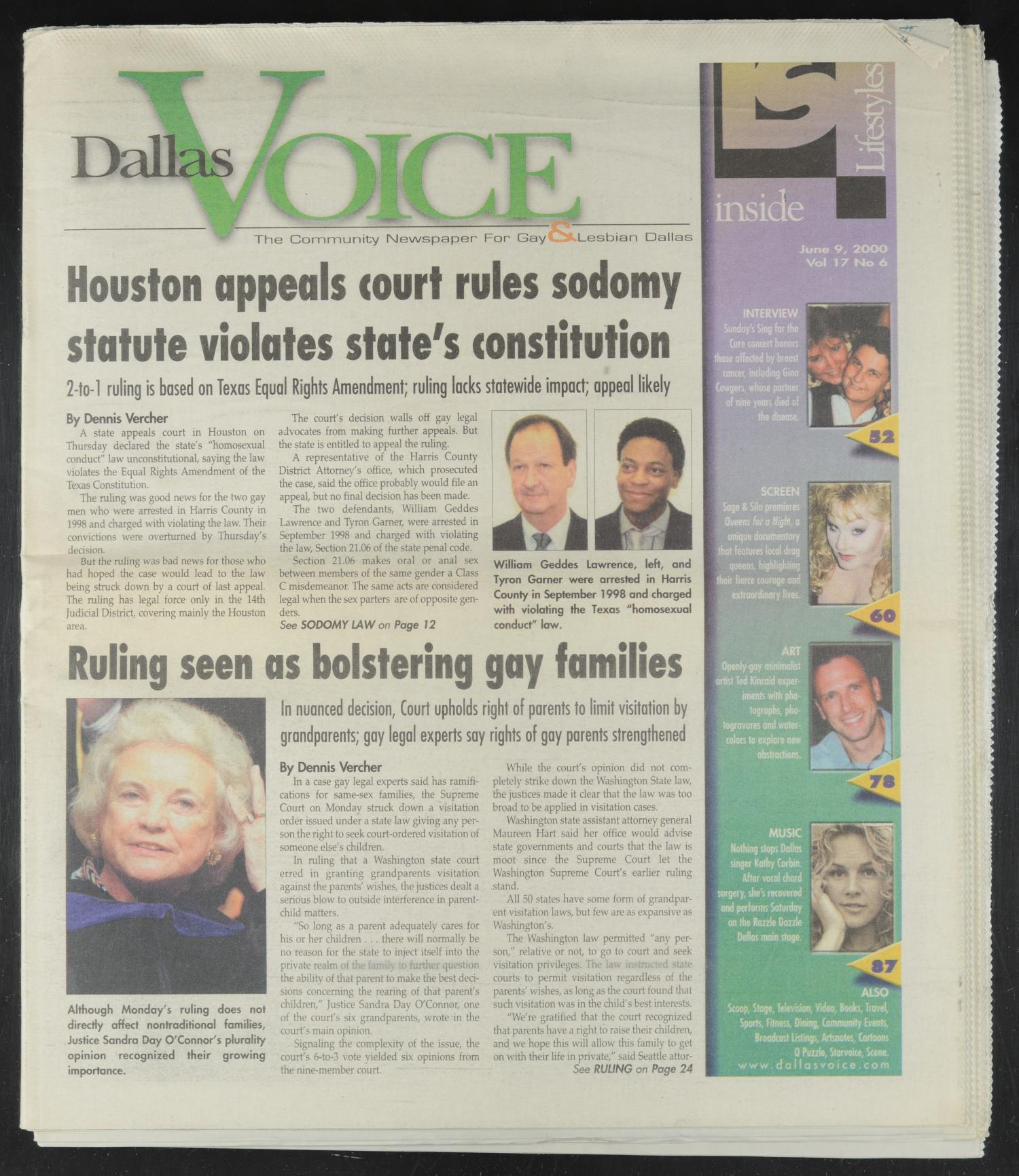 Dallas Voice (Dallas, Tex.), Vol. 17, No. 6, Ed. 1 Friday, June 9, 2000                                                                                                      [Sequence #]: 1 of 125