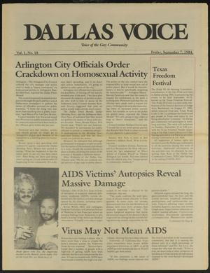 Primary view of object titled 'Dallas Voice (Dallas, Tex.), Vol. 1, No. 18, Ed. 1 Friday, September 7, 1984'.