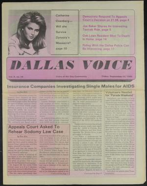 Primary view of object titled 'Dallas Voice (Dallas, Tex.), Vol. 2, No. 19, Ed. 1 Friday, September 13, 1985'.