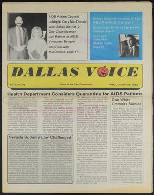 Primary view of object titled 'Dallas Voice (Dallas, Tex.), Vol. 2, No. 25, Ed. 1 Friday, October 25, 1985'.