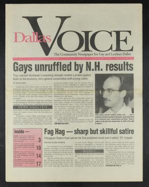 Primary view of object titled 'Dallas Voice (Dallas, Tex.), Vol. 8, No. 44, Ed. 1 Friday, February 21, 1992'.