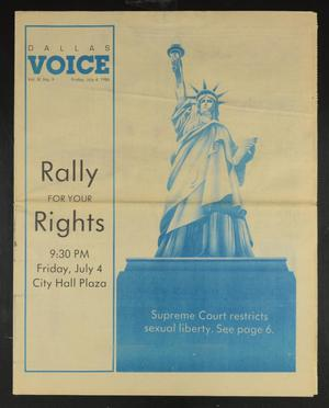Primary view of object titled 'Dallas Voice (Dallas, Tex.), Vol. 3, No. 9, Ed. 1 Friday, July 4, 1986'.