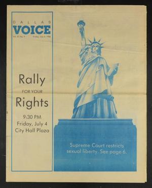 Primary view of Dallas Voice (Dallas, Tex.), Vol. 3, No. 9, Ed. 1 Friday, July 4, 1986