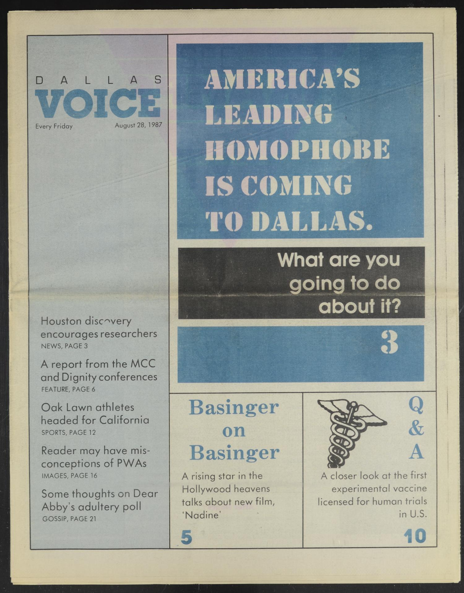 Dallas Voice (Dallas, Tex.), Vol. 4, No. 17, Ed. 1 Friday, August 28, 1987                                                                                                      [Sequence #]: 1 of 32