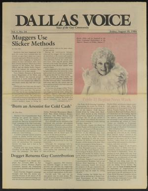 Primary view of object titled 'Dallas Voice (Dallas, Tex.), Vol. 1, No. 14, Ed. 1 Friday, August 10, 1984'.