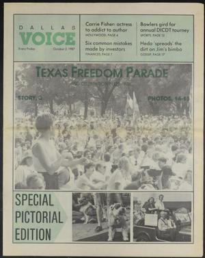 Primary view of object titled 'Dallas Voice (Dallas, Tex.), Vol. 4, No. 22, Ed. 1 Friday, October 2, 1987'.