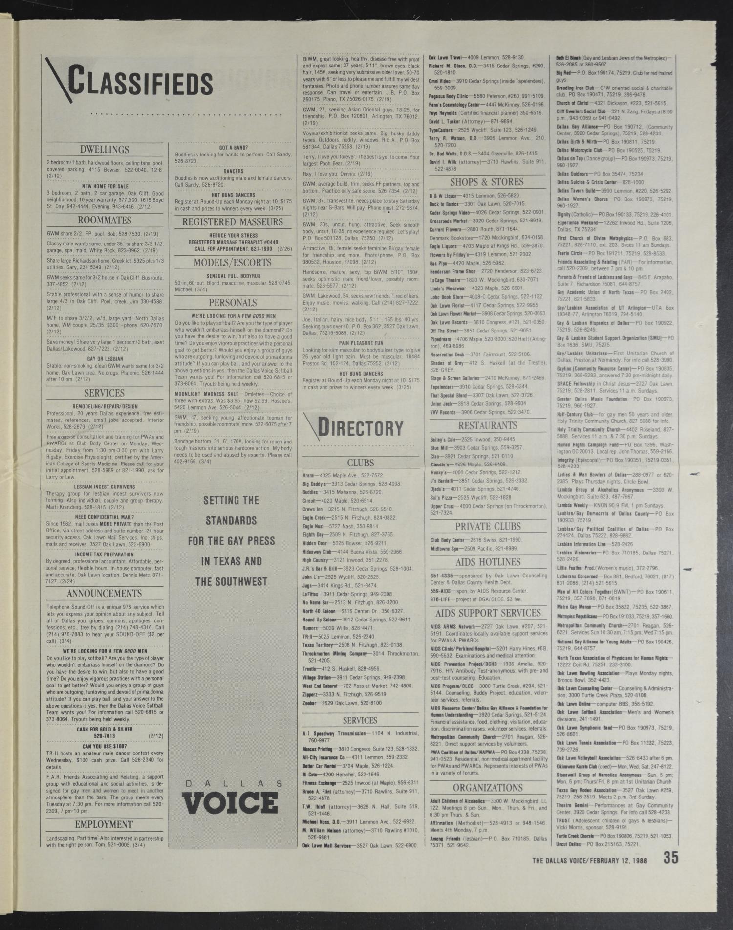 Dallas Voice (Dallas, Tex ), Vol  4, No  42, Ed  1 Friday, February