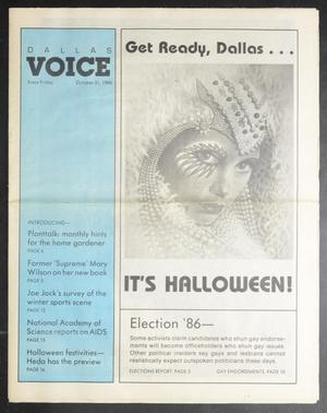 Primary view of object titled 'Dallas Voice (Dallas, Tex.), Vol. 3, No. 26, Ed. 1 Friday, October 31, 1986'.