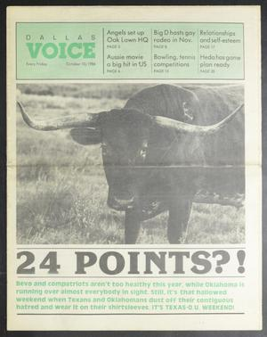 Primary view of object titled 'Dallas Voice (Dallas, Tex.), Vol. 3, No. 23, Ed. 1 Friday, October 10, 1986'.