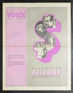 Primary view of object titled 'Dallas Voice (Dallas, Tex.), Vol. 3, No. 18, Ed. 1 Friday, September 5, 1986'.