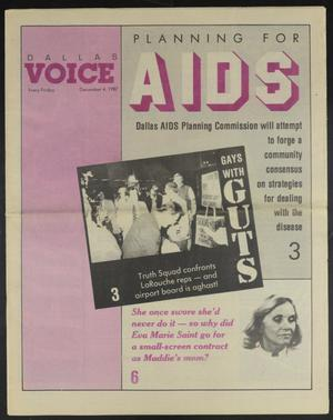 Primary view of object titled 'Dallas Voice (Dallas, Tex.), Vol. 4, No. 31, Ed. 1 Friday, December 4, 1987'.