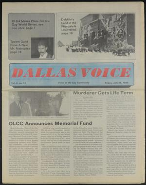 Primary view of object titled 'Dallas Voice (Dallas, Tex.), Vol. 2, No. 12, Ed. 1 Friday, July 26, 1985'.