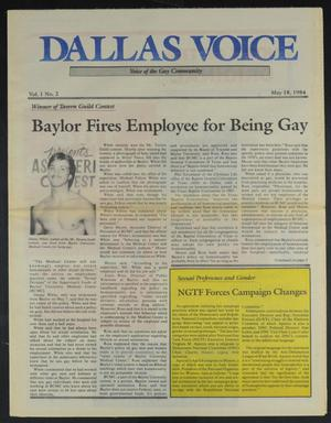 Primary view of object titled 'Dallas Voice (Dallas, Tex.), Vol. 1, No. 2, Ed. 1 Friday, May 18, 1984'.