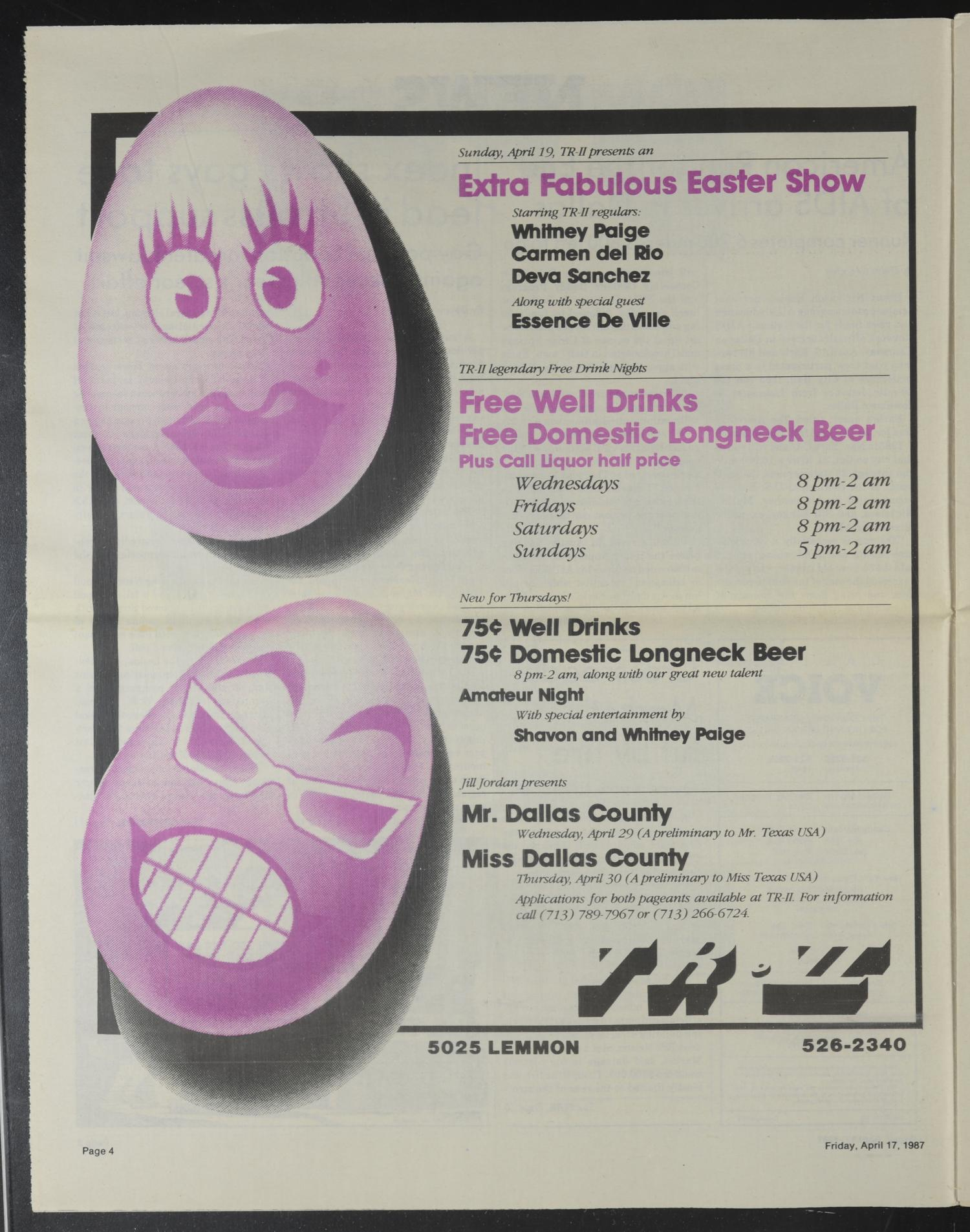 Dallas Voice (Dallas, Tex.), Vol. 3, No. 50, Ed. 1 Friday, April 17, 1987                                                                                                      [Sequence #]: 4 of 28