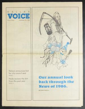 Primary view of object titled 'Dallas Voice (Dallas, Tex.), Vol. 3, No. 34, Ed. 1 Friday, December 26, 1986'.