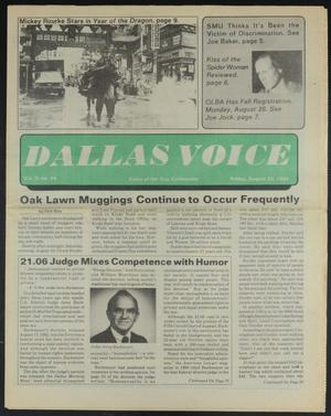 Primary view of object titled 'Dallas Voice (Dallas, Tex.), Vol. 2, No. 16, Ed. 1 Friday, August 23, 1985'.