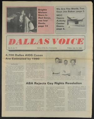 Primary view of object titled 'Dallas Voice (Dallas, Tex.), Vol. 2, No. 11, Ed. 1 Friday, July 19, 1985'.