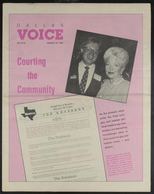 Primary view of object titled 'Dallas Voice (Dallas, Tex.), Vol. 6, No. 43, Ed. 1 Friday, February 23, 1990'.