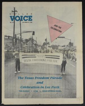 Primary view of object titled 'Dallas Voice (Dallas, Tex.), Vol. 5, No. 21, Ed. 1 Friday, September 23, 1988'.
