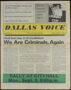 Primary view of object titled 'Dallas Voice (Dallas, Tex.), Vol. 2, No. 17, Ed. 1 Friday, August 30, 1985'.