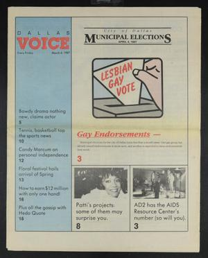 Primary view of object titled 'Dallas Voice (Dallas, Tex.), Vol. 3, No. 44, Ed. 1 Friday, March 6, 1987'.