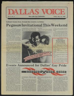 Primary view of object titled 'Dallas Voice (Dallas, Tex.), Vol. 2, No. 3, Ed. 1 Friday, May 24, 1985'.