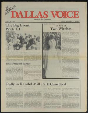 Primary view of object titled 'Dallas Voice (Dallas, Tex.), Vol. 1, No. 20, Ed. 1 Friday, September 21, 1984'.