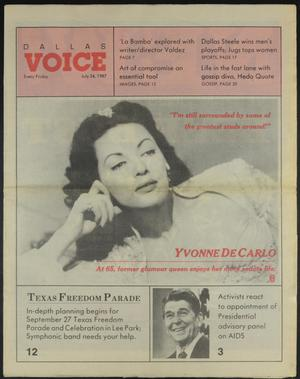 Primary view of object titled 'Dallas Voice (Dallas, Tex.), Vol. 4, No. 11, Ed. 1 Friday, July 24, 1987'.