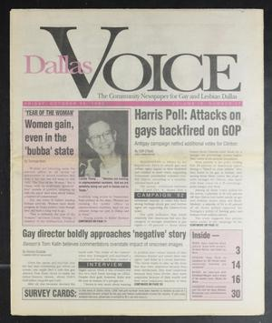 Primary view of object titled 'Dallas Voice (Dallas, Tex.), Vol. 9, No. 27, Ed. 1 Friday, October 30, 1992'.