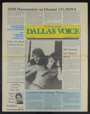 Primary view of object titled 'Dallas Voice (Dallas, Tex.), Vol. 1, No. 39, Ed. 1 Friday, February 1, 1985'.