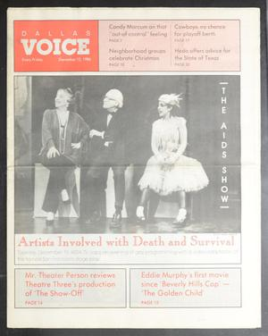 Primary view of object titled 'Dallas Voice (Dallas, Tex.), Vol. 3, No. 32, Ed. 1 Friday, December 12, 1986'.