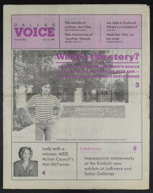 Primary view of object titled 'Dallas Voice (Dallas, Tex.), Vol. 4, No. 10, Ed. 1 Friday, July 10, 1987'.