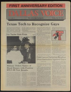 Primary view of object titled 'Dallas Voice (Dallas, Tex.), Vol. 2, No. 1, Ed. 1 Friday, May 10, 1985'.