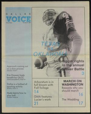 Primary view of object titled 'Dallas Voice (Dallas, Tex.), Vol. 4, No. 23, Ed. 1 Friday, October 9, 1987'.