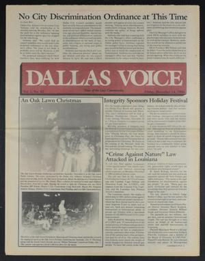 Primary view of object titled 'Dallas Voice (Dallas, Tex.), Vol. 1, No. 32, Ed. 1 Friday, December 14, 1984'.