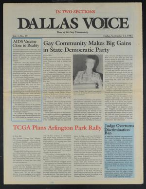 Primary view of object titled 'Dallas Voice (Dallas, Tex.), Vol. 1, No. 19, Ed. 1 Friday, September 14, 1984'.