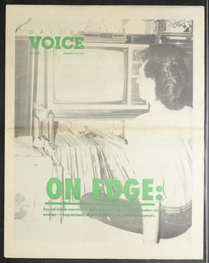 Primary view of object titled 'Dallas Voice (Dallas, Tex.), Vol. 7, No. 39, Ed. 1 Friday, January 25, 1991'.