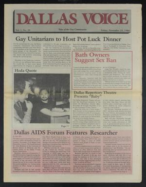 Primary view of object titled 'Dallas Voice (Dallas, Tex.), Vol. 1, No. 29, Ed. 1 Friday, November 23, 1984'.