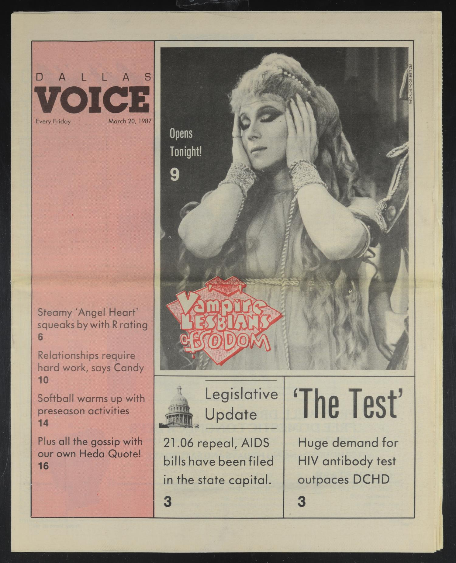 Dallas Voice (Dallas, Tex.), Vol. 3, No. 46, Ed. 1 Friday, March 20, 1987                                                                                                      [Sequence #]: 1 of 24