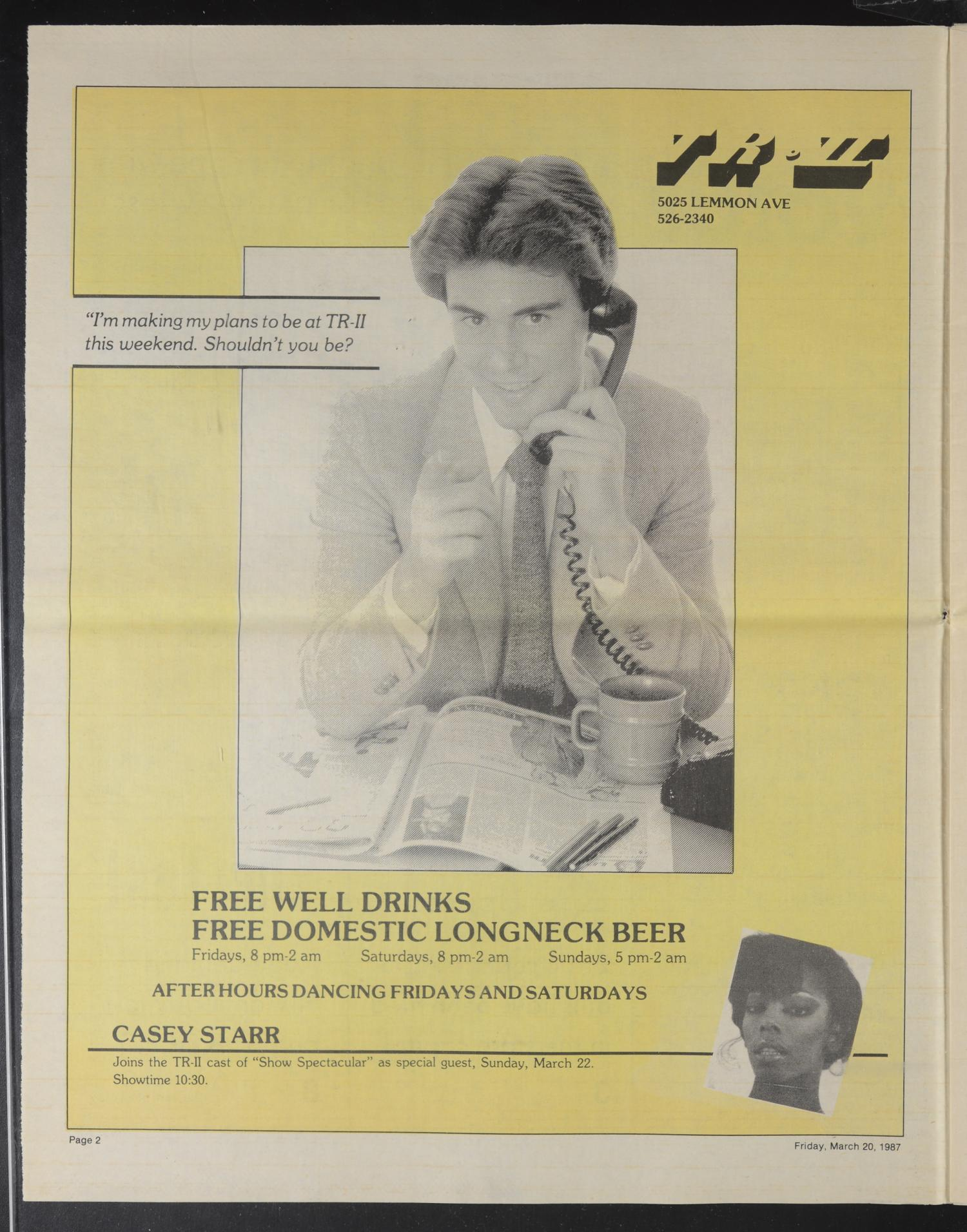 Dallas Voice (Dallas, Tex.), Vol. 3, No. 46, Ed. 1 Friday, March 20, 1987                                                                                                      [Sequence #]: 2 of 24