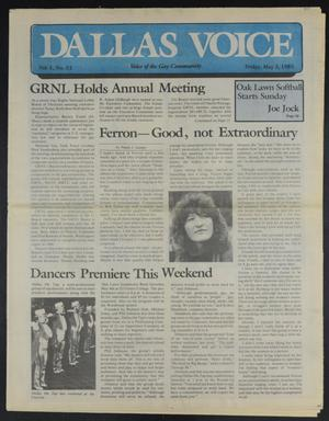 Primary view of object titled 'Dallas Voice (Dallas, Tex.), Vol. 1, No. 52, Ed. 1 Friday, May 3, 1985'.