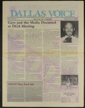 Primary view of object titled 'Dallas Voice (Dallas, Tex.), Vol. 1, No. 10, Ed. 1 Friday, July 13, 1984'.