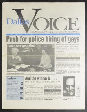 Primary view of object titled 'Dallas Voice (Dallas, Tex.), Vol. 7, No. 39, Ed. 1 Thursday, January 17, 1991'.