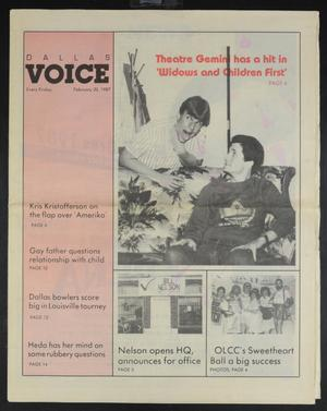 Primary view of object titled 'Dallas Voice (Dallas, Tex.), Vol. 3, No. 42, Ed. 1 Friday, February 20, 1987'.