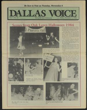 Primary view of object titled 'Dallas Voice (Dallas, Tex.), Vol. 1, No. 26, Ed. 1 Friday, November 2, 1984'.